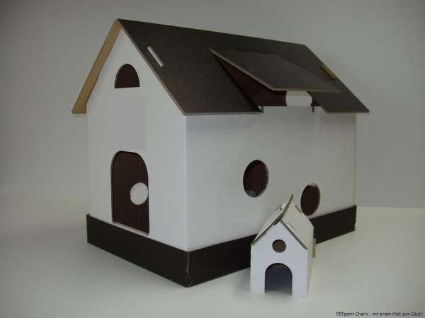 Katzenhaus, schwarz-weiß
