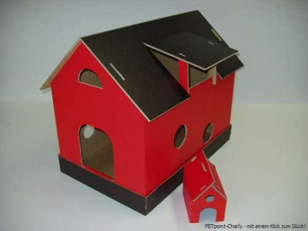 Katzenhaus, schwarz-rot