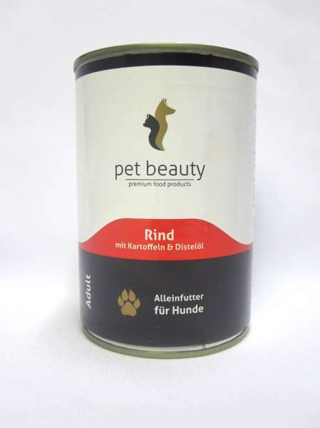 pet beauty, mit Rind, Kartoffeln & Distelöl, 6x400g