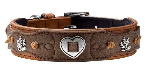 Hunter Hundehalsband Tradition, cognac-schwarz, aus Sattelleder