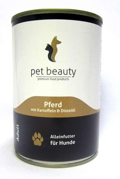pet beauty, mit Pferd, Kartoffeln & Distelöl, 6x400g
