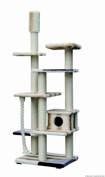 Kratzbaum Escaro, weiß & Streifen, 90x70x244-264cm