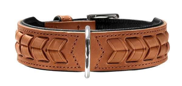 Hunter Hundehalsband El Paso, cognac-schwarz, aus Sattelleder